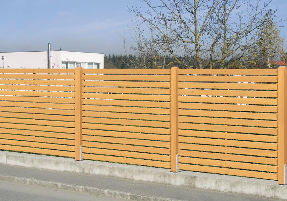 Sichtschutzzaun Holz Rhombus ~ 312  Sichtschutz waagrecht  luftiger Abschluss mit Durchsicht bei