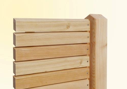 Sichtschutzzaun Holz Rhombus ~ 342  waagrecht in abgestuften Höhen  Lärche natur